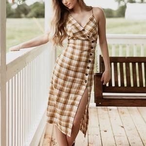 Dresses & Skirts - Vintage Style Mustard Plaid Midi Summer Dress